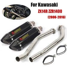 Full Exhaust System For Kawasaki Ninja ZX14R ZZR1400 2006-2016 Muffler Mid Pipe