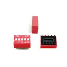 10pcs Red 2.54mm Pitch 5-Bit 5 Positions Ways Slide Type DIP Switch