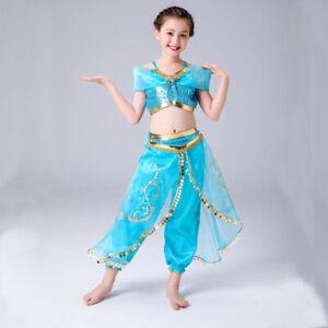 Girl Costume Aladdin Princess Jasmine Cosplay Outfits Sequin Fancy Dress 3-10yrs