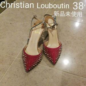 Auth Christian Louboutin Heels Sandals EUR 38 Red Never Used from Japan