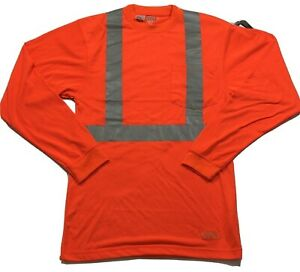 Berne Hi Vis Type R Class 2 Reflective Mens L/S Safety Pocket T-Shirt Small