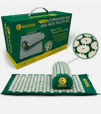 Nayoya Back and Neck Pain Relief Acupressure Mat and Pillow Set Sealed Box New