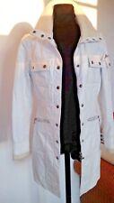 Gypsy vintage Damen Mantel Trenchcoat Ledermantel Leather coat Jacket weiß 36 S
