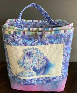 Lion and cub, original art by Lorraine Turner insulated lunch bag for women