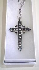 """Men's Large Stainless Steel Cross With Clear Cubic Zirconia Necklace 23"""" Long"""