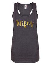 Wifey - Sugarplum - Women's Racerback Vest - Gym Bride Wedding Workout Tank Top