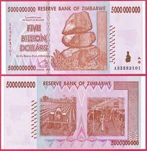 ZIMBABWE 5 BILLION DOLLARS 2008 P84 BANKNOTE UNC