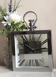 New Silver Chrome MetalTable Clock Modern Shelf Table Mantel Clock Home Decor