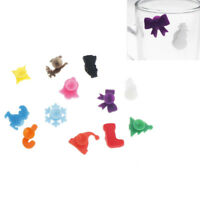 12PCS Cute Cup Wine Glass Drink Silicone Label Tag Markers Bottle Charms Pip