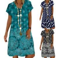 Womens V-Neck Boho Floral T-Shirt Dress Summer Holiday Beach Baggy Tunic Dresses