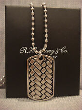 MACYS MEN'S SHR STAINLESS STEEL WOVEN PATTERN DOG TAG NECKLACE PENDANT NEW $149