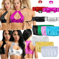 Bandeau Women's Metallic Strapless Bra Tube Crop Top Dancewear Strappy Tank Tops