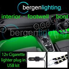 2X 1000MM GREEN USB 12V LIGHTER INTERIOR KIT 12V SMD5050 DRL MOOD LIGHTING STRIP