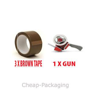 1 PACKING TAPE GUN DISPENSER 50mm & 3 ROLLS BROWN TAPE FREE POSTAGE IN UK