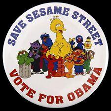 "2008 Save Sesame Street Vote For Barack Obama 3"" Campaign Pinback Button"