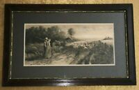 HENRY PRUETT SHARE ANTIQUE ETCHING 'PASTORAL SHEEP LANDSCAPE' DATED 1887