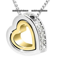 Unique Double Heart Crystal Necklace Xmas Present Love Gift For Her Wife Women