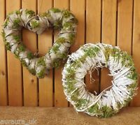 White Round / Grey Heart Moss Covered Woven Wreath Home Wedding Easter Christmas