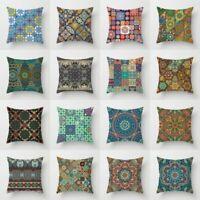 Retro Totem Flower Polyester Throw Pillow Case Cushion Cover Home Sofa Decor