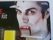 Halloween Vampire Makeup Kit Medallion Fangs Blood Costume Theater Teeth