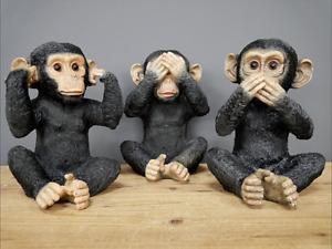 New Set of 3 Chimp Monkey Ornaments See Hear Speak No Evil Decor Sculpture Gift