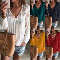 ZANZEA Women Long Sleeve Hollow Out Loose Blouse V Neck Shirt Tops Crochet Tops