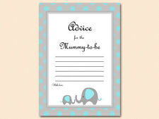 10 x PRINTED - Blue Elephant Advice for the Mummy Card Baby Shower TLC32B