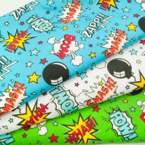 Polycotton Fabric SUPERHERO COMIC CARTOON KIDS CHILDRENS Blue Green Material