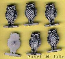 GREY OWL - Forest Wise Bird of Prey Wizard Animal Novelty Craft Buttons