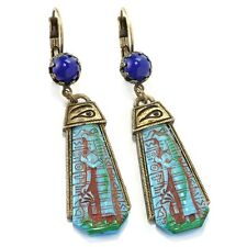 NEW SWEET ROMANCE ART DECO STYLE BLUE GODDESS EGYPTIAN EARRINGS  ~~MADE IN USA~~