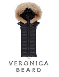 NWT VERONICA BEARD Dickey Coyote Fur Black Hoodie Puffer vest 4 jacket $550