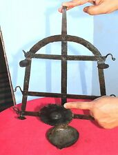 Old Early Original Primitive Handmade Iron 5 In 1 Wall Hanging Oil Lamp