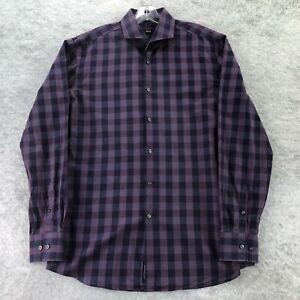 Hugo Boss Mens Purple Plaid Check Slim Fit Long Sleeve Button Up Shirt Size 16.5