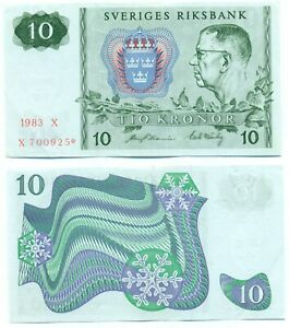 SWEDEN NOTE 10 KRONOR 1983 PREFIX X STAR REPLACEMENT P 52r4 XF