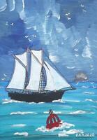 Sailing Off The Bass Rock : Original Scottish Oil Painting by David R Howard