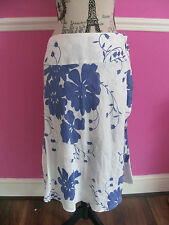 MONSOON WRAP SKIRT WHITE BLUE FLORAL 100% LINEN SIZE 10 PERFECT CONDITION