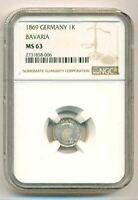 Germany States Bavaria Silver 1869 Kreuzer MS63 NGC