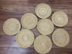 Vtg Bamboo Wicker Rattan Paper Plate Holders- Set Of 8 Wall Baskets Boho