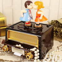 Retro Classical Radio Music Box Wind Up Music Box Gift for Couples