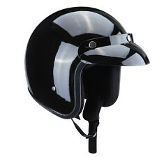 1 x Helmet 3/4 Motorcycle Gloss Black Open Face Helmet L Size Adult Safety
