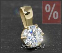 Diamant 585 Gold Damen Anhänger; 0,58 ct, Top Wesselton F & VS, Diamantanhänger