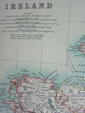1910 MAP ~ IRELAND MAYO SLIGO TYRONE DONEGAL LONDONDERRY ANTRIM LIMERICK CORK
