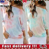 Women Tie Dye Pullover Jumper Loose Top Long Sleeve T-shirt Tops Sweatshirt S-XL