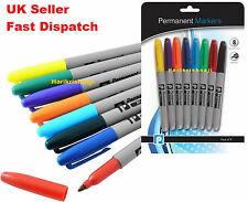 8 Permanent Marker Pens Assorted Coloured Bullet Tip CD Like Sharpie Waterproof