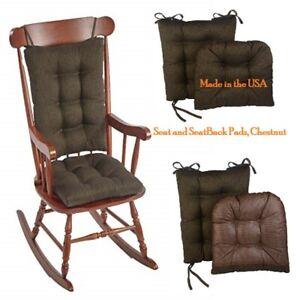 Non-Slip Omega Jumbo Rocking Chair Cushions Set, Chestnut