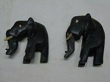 lot de 2 statuettes d'éléphant en bois couleur noire, artisanal