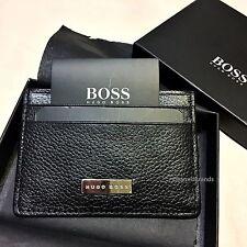 HUGO BOSS '50248896' 'BAZ' GRAINED PEBBLED LEATHER CARD HOLDER BOSS BLACK