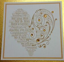 Personalised Handmade Wedding Day Card Gold
