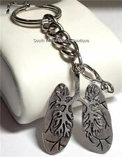 Silver Medical Keychain Pulmonary Doctor Nurse Respiratory Therapist Lungs Gift