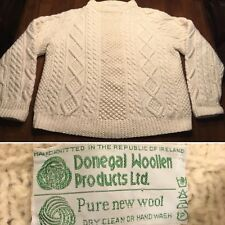Vtg Handmade Donegal Irish Knit WOOL Fisherman Sweater Sz. Euro 40 Pam Voorhees